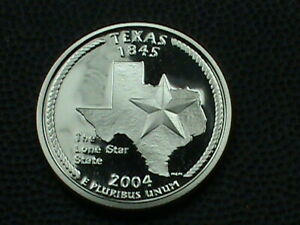 UNITED STATES  25 CENTS 2004 S PROOF TEXAS COMBINED SHIP .10 CENTS USA   .29 INT