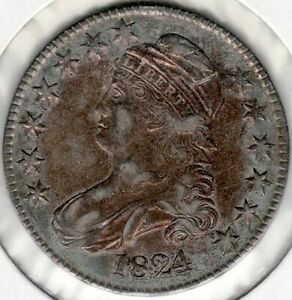 1824 US CAPPED BUST HALF DOLLAR 15 REVERSE ROTATION TO OBVERSE ERROR DETAILS