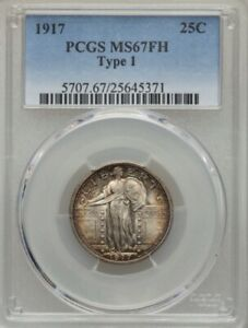 1917 TYPE 1 STANDING LIBERTY QUARTER PCGS MS67FH NATURAL BLAZER