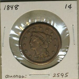 1848 1C LARGE CENT LC COPPER PENNY EARLY US TYPE COIN