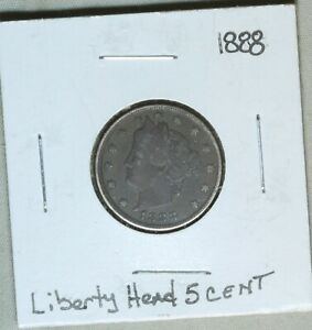 1888 5C LIBERTY V NICKEL EARLY US TYPE COIN SEMI KEY DATE XF  DARK COIN