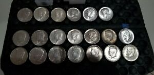 FULL DATES $10 FACE VALUE 90  SILVER. 20 1964 KENNEDY HALF DOLLARS IN TUBE