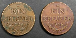 2 AUSTRIA   FRANZ II   1 KREUZER COINS DATED 1816A AND 1816B
