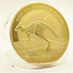 1OZ AUSTRALIAN GOLD PLATED KANGAROO/NUGGET COIN  RANDOM DATE  FINE APPEALING