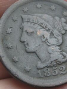 1852 BRAIDED HAIR LARGE CENT PENNY  VF DETAILS