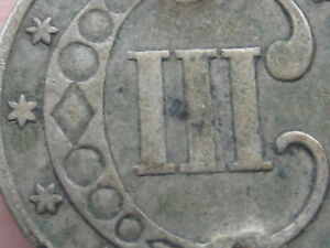 1852 THREE 3 CENT SILVER TRIME  VF DETAILS
