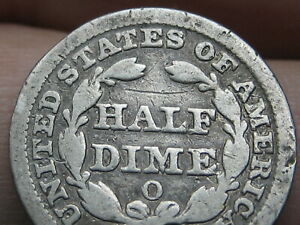 1852 O SEATED LIBERTY HALF DIME  VG DETAILS