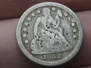 1852 O SEATED LIBERTY SILVER DIME  VG DETAILS