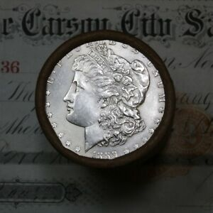 Click now to see the BUY IT NOW Price! 1889 & CC CARSON CITY ENDS ON THIS SHOTGUN ROLL OF MORGAN SILVER DOLLARS UNC