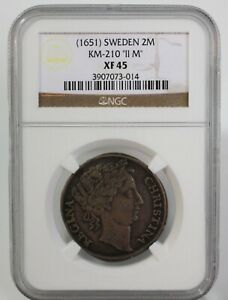 Click now to see the BUY IT NOW Price! 1651 SWEDEN SILVER 2 MARK COIN II M CERTIFIED BY NGC AS XF 45 REGINA CHRISTINA