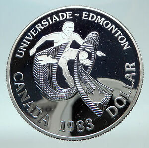 Click now to see the BUY IT NOW Price! 1983 CANADA UK QUEEN ELIZABETH II EDMONTON WORLD GAME PROOF SILVER $ COIN I80860