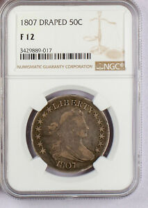 1807 DRAPED BUST HALF DOLLAR NGC FINE 12. A FANTASTIC EARLY AMERICAN TYPE COIN