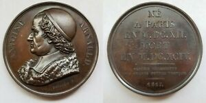 1817 FRENCH PHILOSOPHER ANTOINE ARNAULD  1612 94  BRONZE MEDAL BY DEPAULIS F.