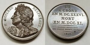 1817 FRENCH POET N BOILEAU DESPREAUX  1636 1711  PL BRONZE MEDAL BY CAUNOIS F.