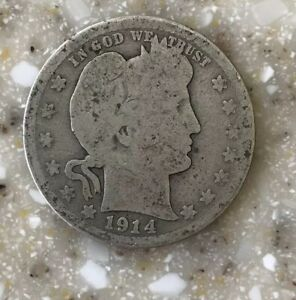 1914 D BARBER QUARTER CIRCULATED CONDITION 90  SILVER  U.S. COIN