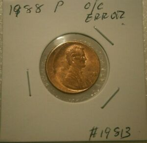 1988 P  NICE OFF CENTER  LINCOLN CENT PENNY ERROR 19813