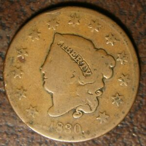 1830 CORONET HEAD LARGE CENT N 6 R 4 MEDIUM LETTERS
