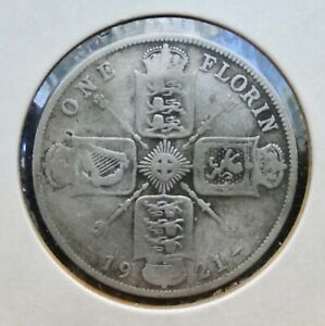 GREAT BRITAIN ONE FLORIN COIN 50  SILVER DATED 1921