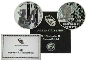 2011   911 SEPTEMBER NATIONAL MEDAL SILVER COIN WITH COA AND MINT BOX