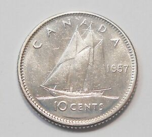 1957 TEN CENTS CHOICE MS BU   BEAUTY EARLY QUEEN ELIZABETH II SILVER CANADA DIME