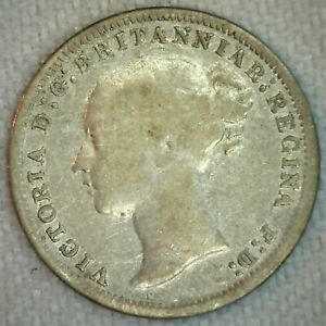 1874 GREAT BRITAIN THREE PENCE SILVER COIN 3 PENCE UK SILVER COIN FINE K10