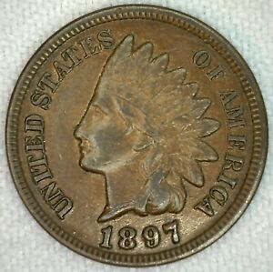 1897 INDIAN HEAD US PENNY 1C BRONZE US COIN XF EXTRA FINE ONE CENT K41