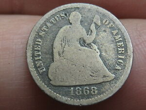 1868 P SEATED LIBERTY HALF DIME GOOD/VG DETAILS