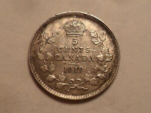 1919 CANADA 92.5  SILVER FIVE CENT LOW MINTAGE 7 835 400
