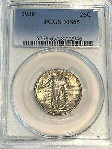 1930 25C STANDING LIBERTY QUARTER PCGS MS65 : LIGHT TONING NICE STRIKE & LUSTER