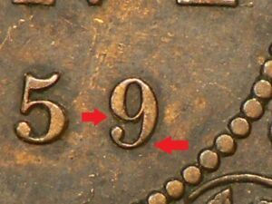 1859 CANADA LARGE CENT REPUNCHED 9 9770