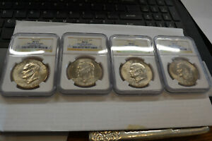 4  COIN EISENHOWER IKE DOLLAR SET FROM THE BIG SKY HOARD NGC MS 65