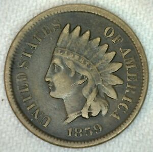 1859 US INDIAN HEAD ONE CENT PENNY COPPER NICKEL FINE KJ17