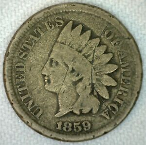 1859 US INDIAN HEAD ONE CENT PENNY COPPER NICKEL GOOD KJ18