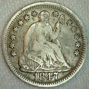 1847 US SILVER HALF DIME SEATED LIBERTY 5C US SILVER COIN FINE K4