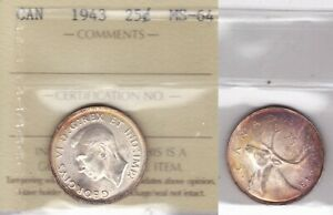 1943 ICCS MS64 25 CENTS CANADA TWENTY FIVE QUARTER SILVER