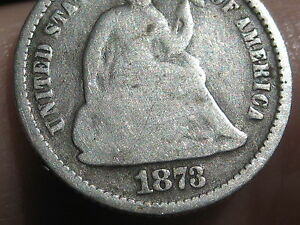 1873 SEATED LIBERTY HALF DIME VG DETAILS FULL DATE