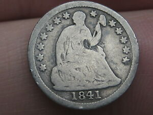 1841 SEATED LIBERTY HALF DIME  GOOD/VG OBVERSE DETAILS