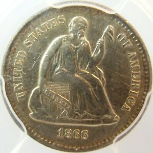1866 S SEATED HALF DIME ONLY 120 000 MINTED  DATE AU DETAILS LOOKS UNC PCGS