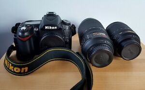 NIKON D90 12.3MP DIGITAL SLR CAMERA   BLACK  KIT W/ 18 55MM AND 70 300MM LENSES