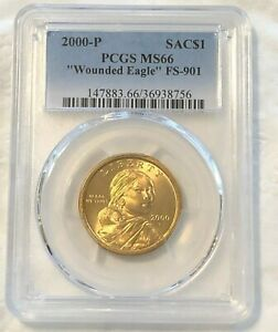 Click now to see the BUY IT NOW Price! 2000 SACAGAWEA DOLLAR WOUNDED EAGLE PCGS MS66 FS 901: DISTINCT SPEAR THRU TORSO