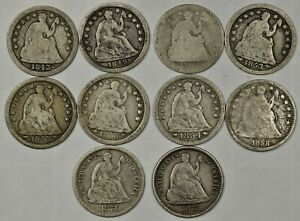 10X LIBERTY SEATED SILVER HALF DIMES 1843 1849 1850 1853 1854 1858 1871 1872