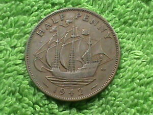 GREAT BRITAIN 1/2 PENNY 1942  COMBINED SHIPPING .10 CENTS USA  .29 INTERNATIONAL