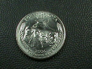 UNITED STATES 25 CENTS 2006 D UNC SOUTH DAKOTA COMBINED SHIPPING .10 USA .29 INT