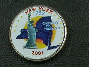 UNITED STATES  25 CENTS  2001 D  UNC  COLORIZED  NEW YORK   COMBINED SHIPPING