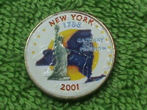 UNITED  STATES   25 CENTS   2001 P  UNC  COLORIZED  NEW  YORK  COMBINED SHIPPING