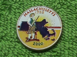 UNITED STATES  25 CENTS 2001 P  UNC  COLORIZED  MASSACHUSETTS  COMBINED SHIPPING