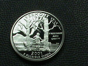 UNITED STATES   25 CENTS   2001 S   PROOF    VERMONT    COMBINED SHIPPING