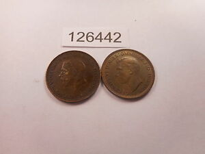 LOT   TWO GREAT BRITAIN HALF PENNYS   1931 1937   COLLECTOR COINS    126442