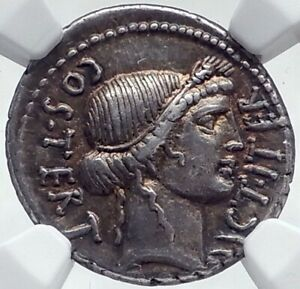 Click now to see the BUY IT NOW Price! JULIUS CAESAR AUTHENTIC 46BC ANCIENT SILVER ROMAN COIN THAPSUS BATTLE NGC I81521