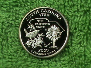 UNITED STATES 25 CENTS 2000 S PROOF SOUTH CAROLINA COMBINED SHIP.10 CENTS USA